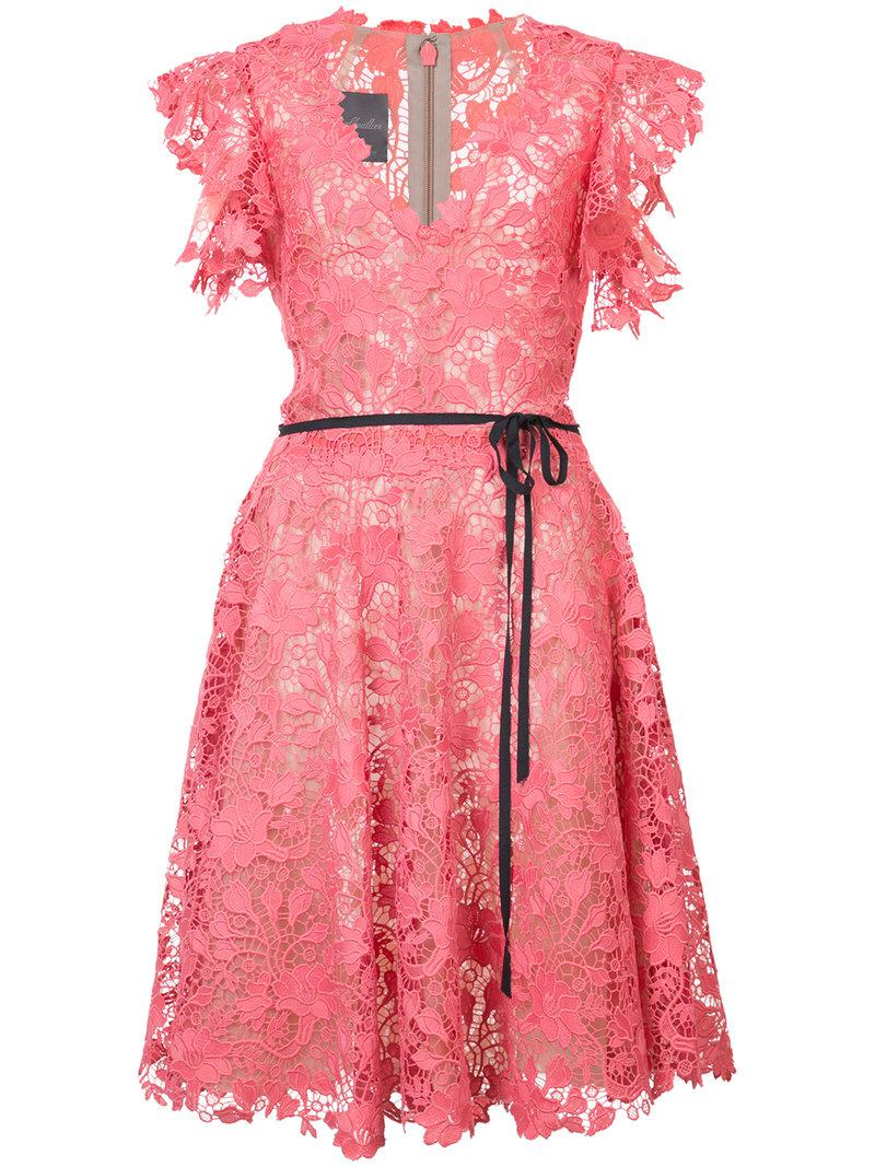 belted lace dress - Pink & Purple Monique Lhuillier Clearance Shop For Online Shop r6LhW