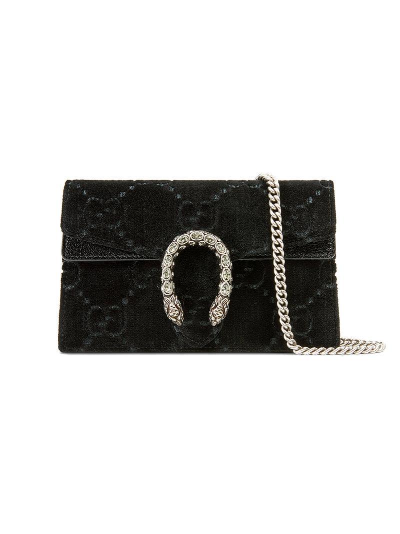 123e1f29b Gucci Dionysus Gg Velvet Super Mini Bag in Black - Lyst