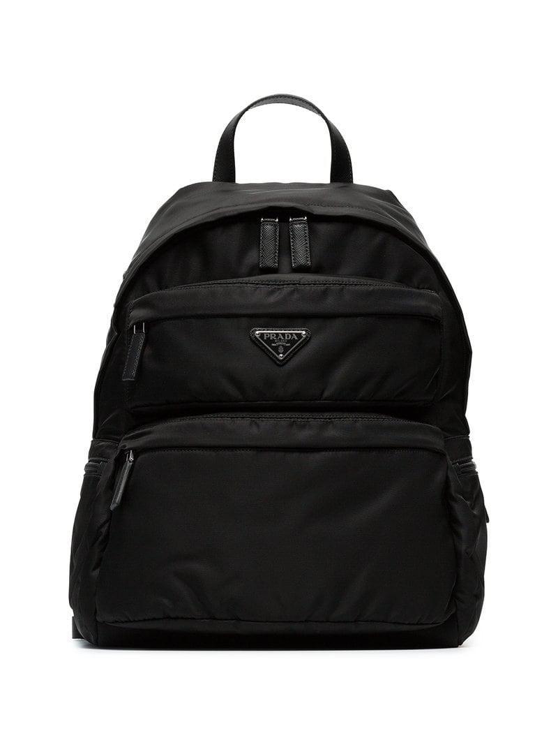 03c6a95ab482 get mens prada backpacks lyst 22e92 02e5c  sale prada. mens black logo  plaque backpack f9570 5f077