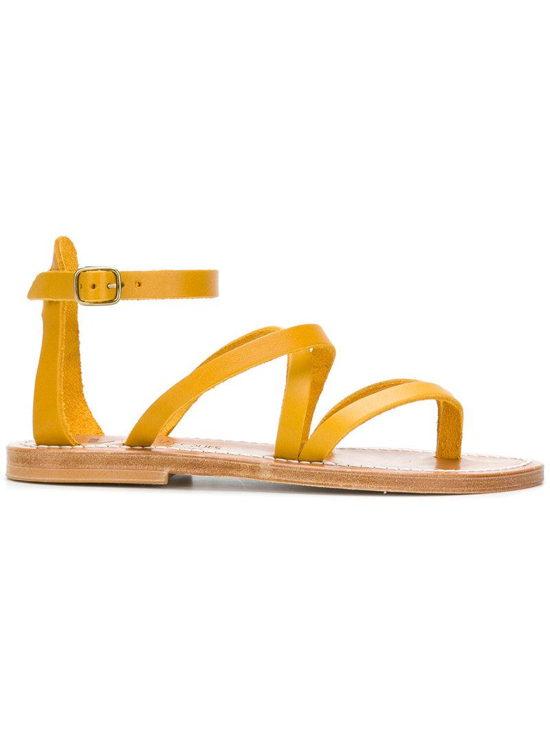 K. K. Jacques Chunky Cross Strap Sandals - Yellow & Orange Chunky Sandales Jacques Sangle Croix - Jaune Et Orange ReZC9Wpn