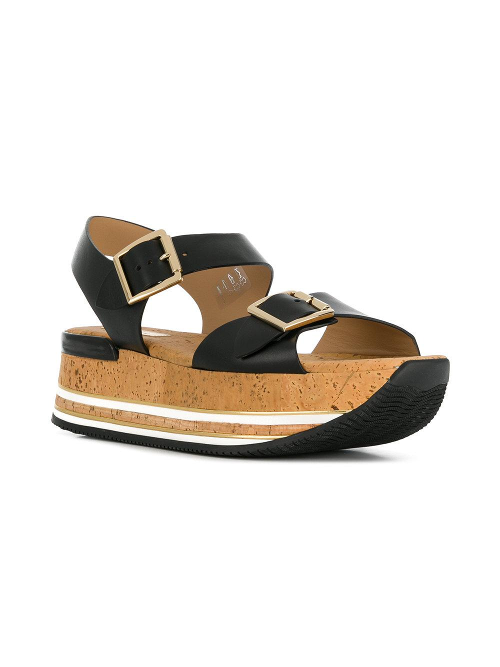 bdc0ef3476f Lyst - Hogan Platform Buckle Sandals in Black