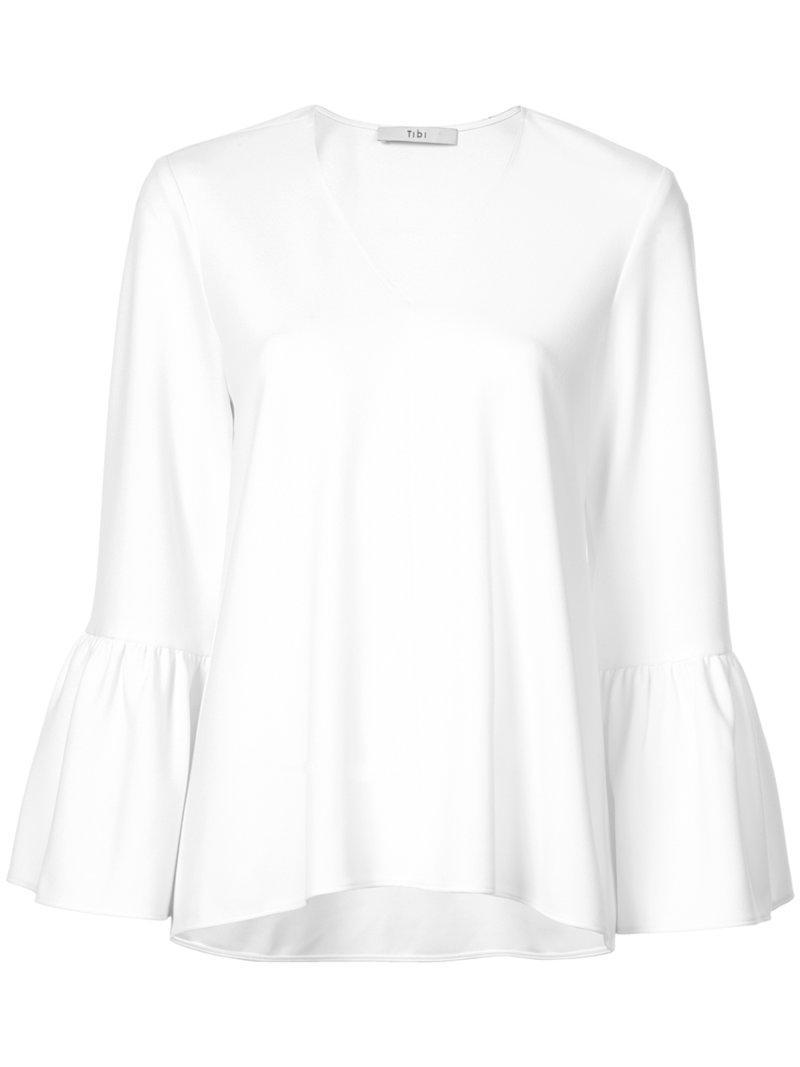 6295a646c82bbf Lyst - Tibi Ruffle Sleeve V-neck Blouse in White