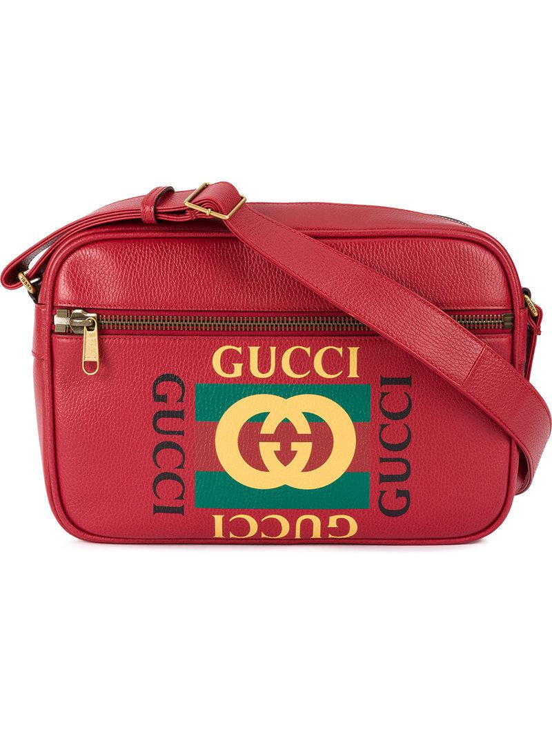 015a9676f589 Lyst - Gucci Printed Messenger Bag in Red for Men - Save 25%