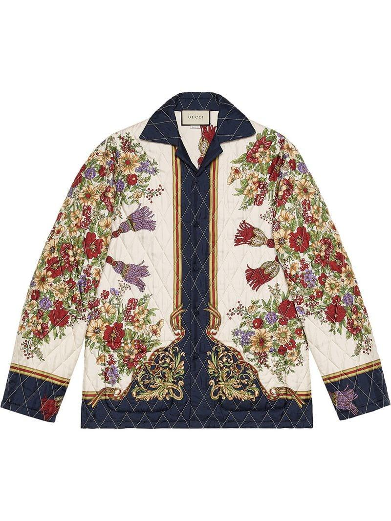 57c9e7935de Lyst - Gucci Quilted Jacket With Flowers And Tassels in White for Men
