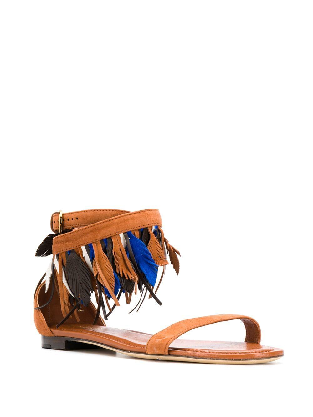 2bf906796 Tod s Feather Boho Sandals in Brown - Lyst