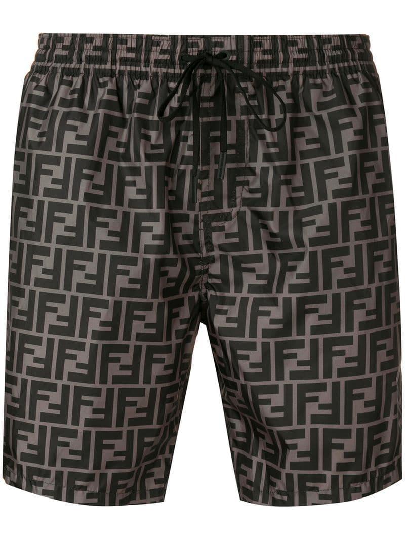 2429ff84a2 Lyst - Fendi Monogram Print Swim Shorts in Black for Men