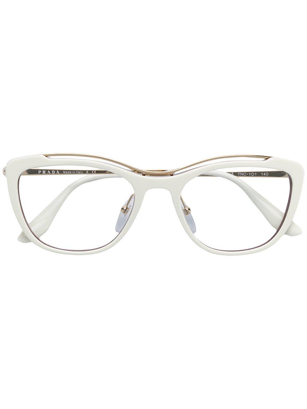 177ba002a4f Prada Square Shaped Glasses in White - Lyst