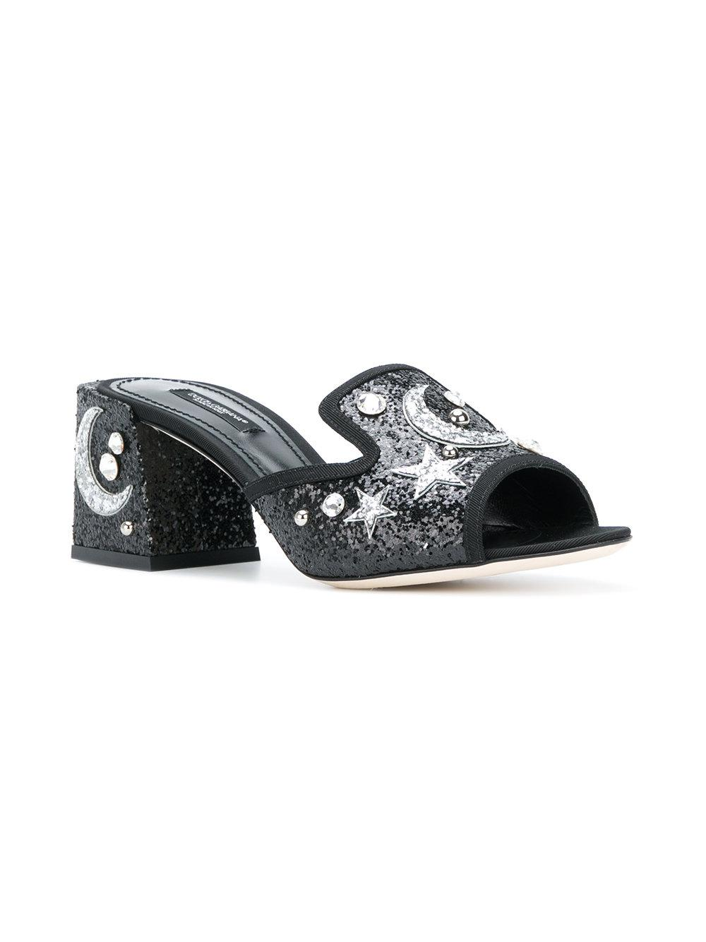 726d925ad7b7a Dolce & Gabbana Star & Moon Embellished Mules in Black - Lyst