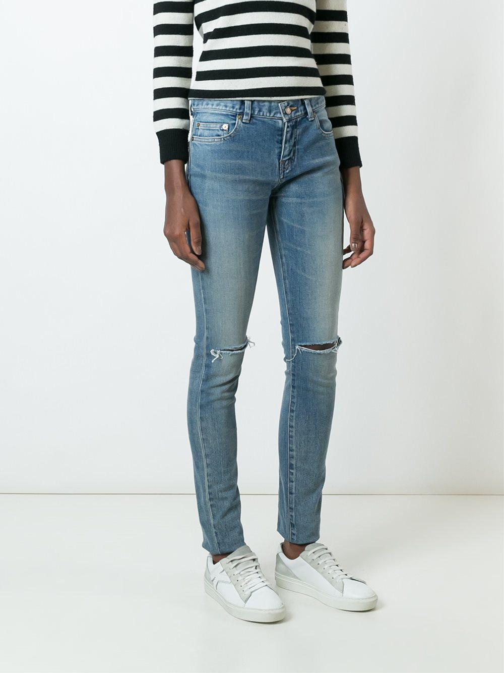 distressed skinny fit jeans - Blue Saint Laurent tbtW3T