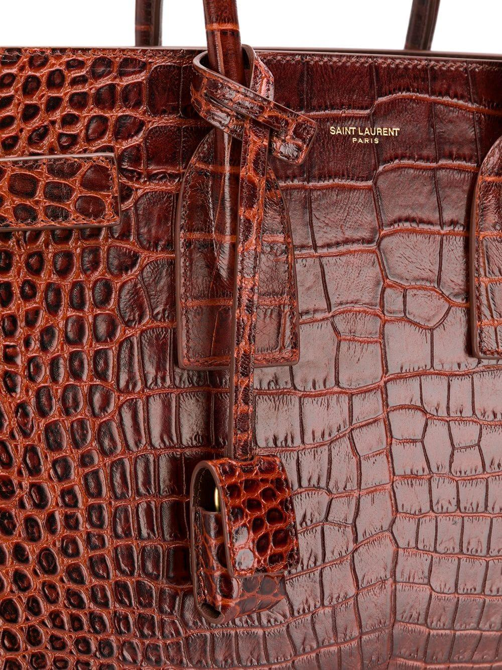 9b79a48f02 Saint Laurent - Brown Croc-print Tote Bag - Lyst. View fullscreen
