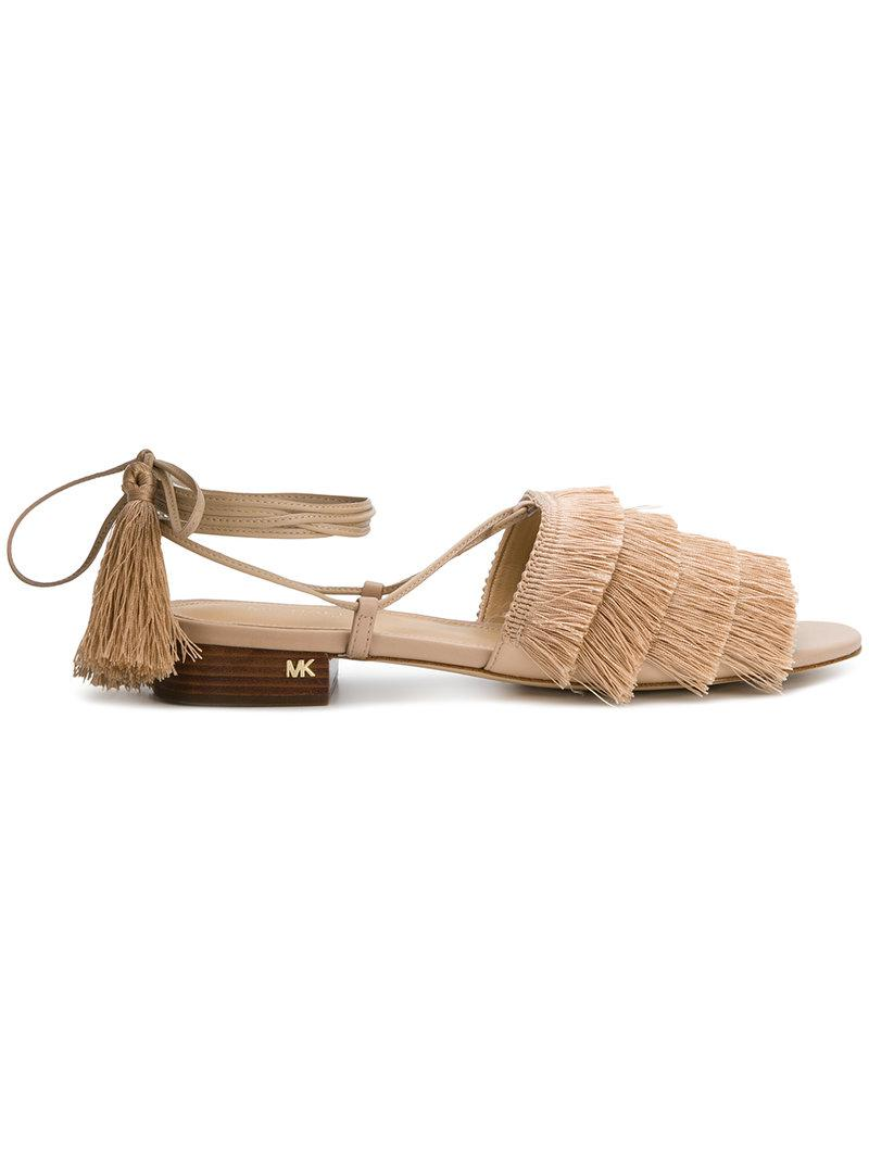 fd56111ff3f Lyst - MICHAEL Michael Kors Gallagher Fringed Sandals in Natural