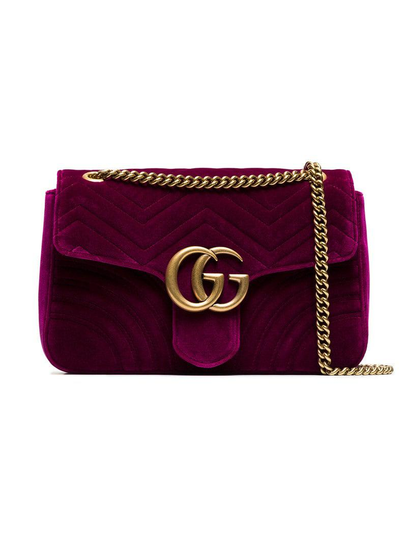 61349ce5a349 Gucci Fuchsia Marmont Medium Velvet Quilted Bag in Pink - Lyst