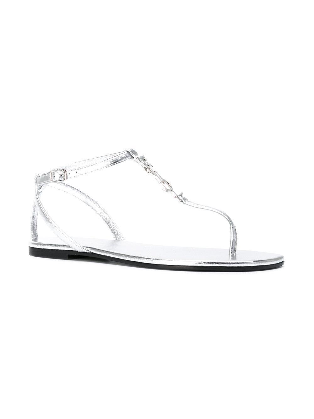 56a0dc6ce0c1 Lyst - Saint Laurent Nu Pieds 05 Ysl Sandals in Metallic