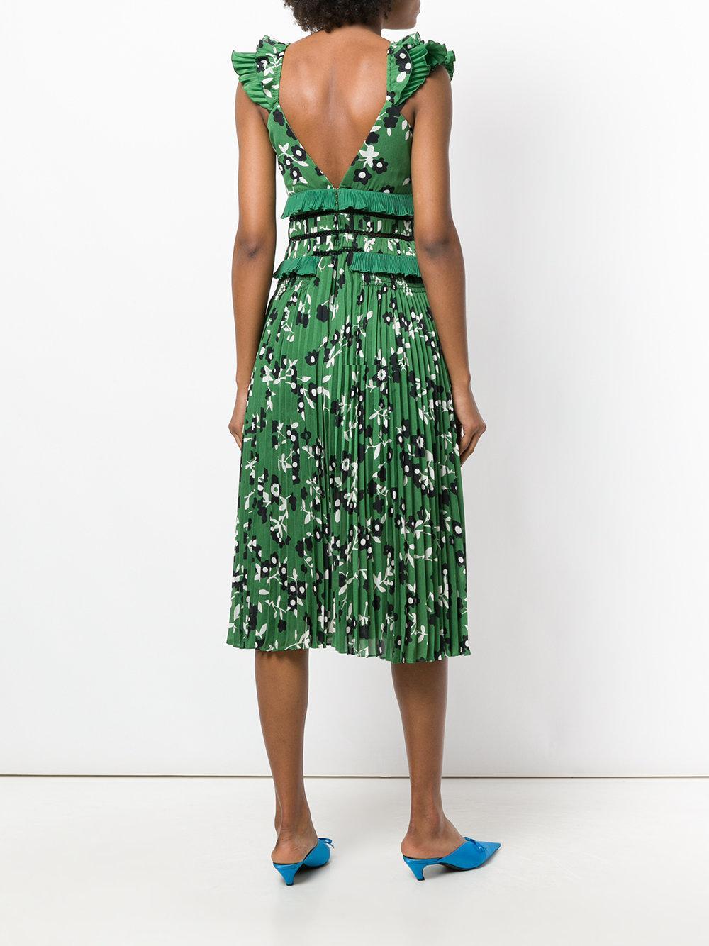 dab82c8a57c Lyst - Robe mi-longue plissée à fleurs Self-Portrait en coloris Vert