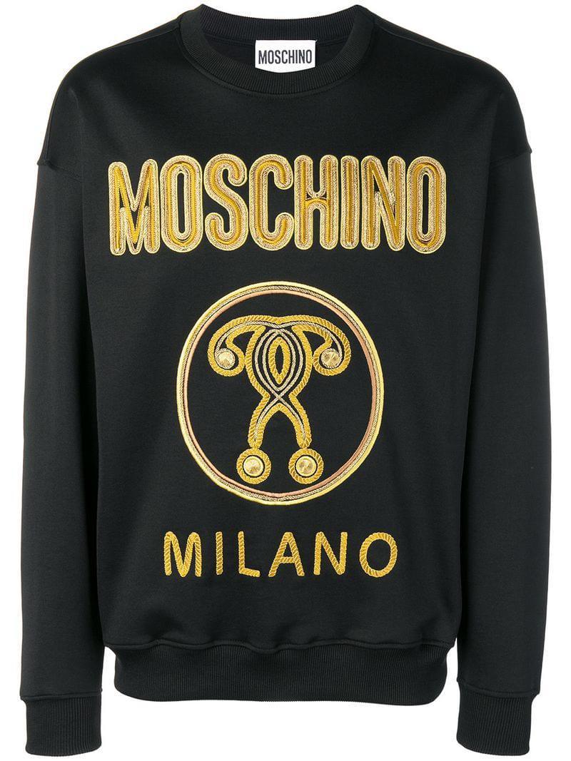 70e987ed Lyst - Moschino Metallic Logo-embroidered Jersey Sweatshirt in Black ...