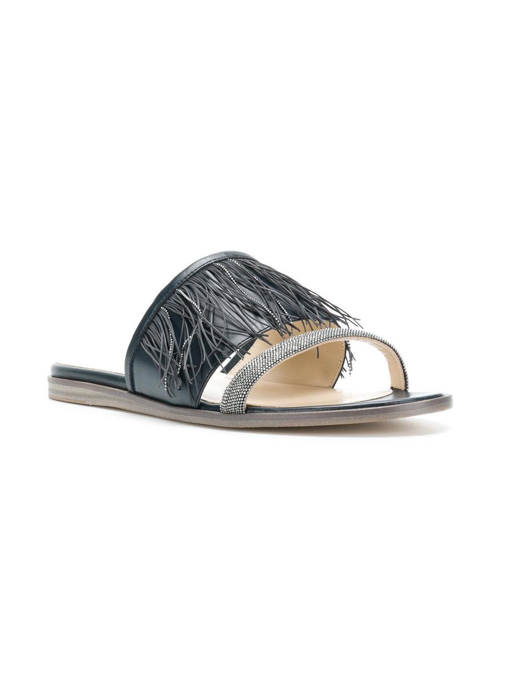 fringed sandals - Blue Fabiana Filippi 5g4kTv