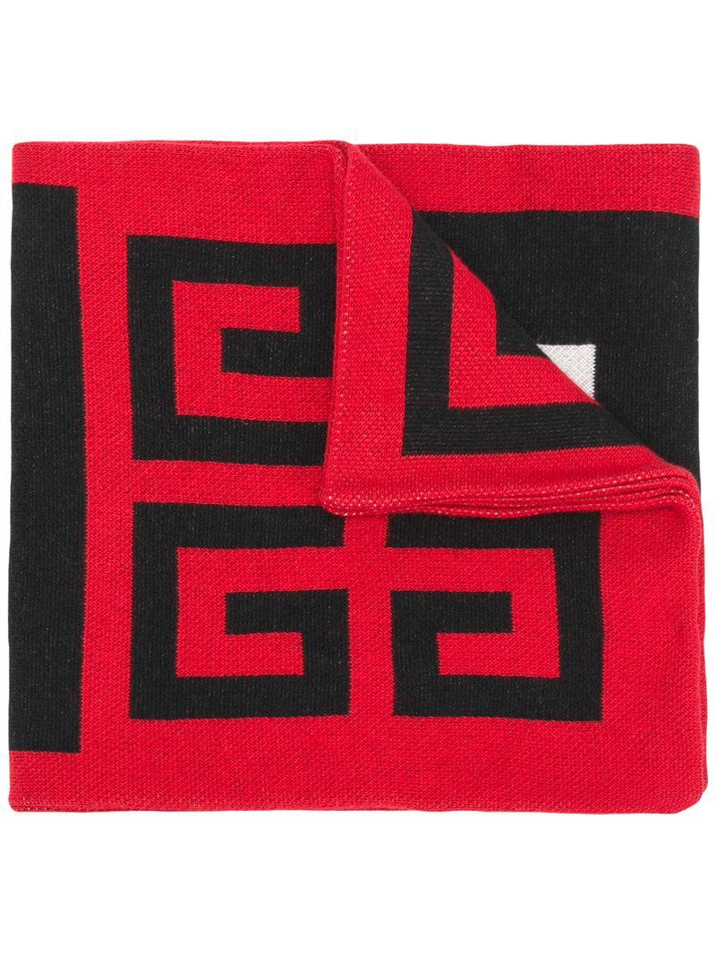 Lyst - Écharpe à logo intarsia Givenchy pour homme en coloris Rouge 877738e170d