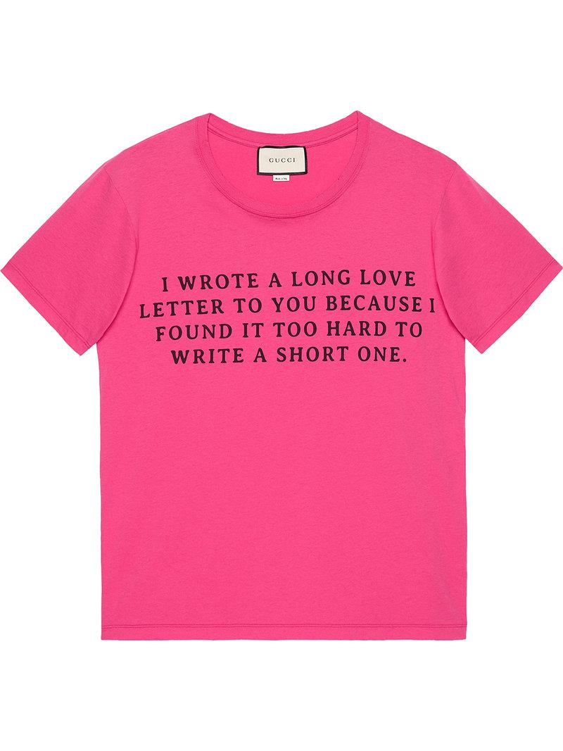 Lyst gucci love letter print t shirt in pink for men for Letter print t shirt