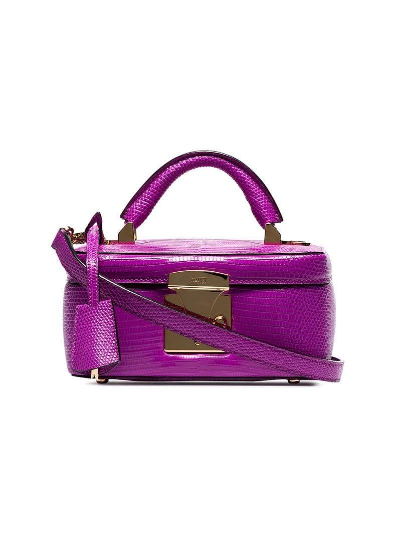 Stalvey Magenta Top Handle Lizard Skin Leather Box Bag in Purple - Lyst a3e0ca6b5a368