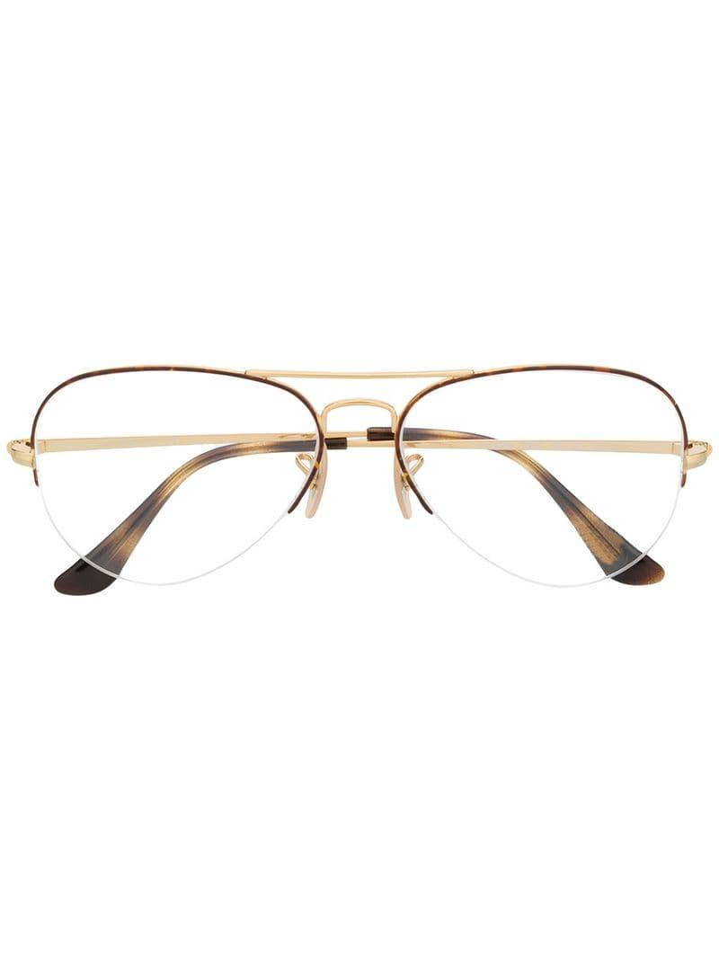 83036f5f23 Ray-Ban Oval Frame Glasses in Metallic for Men - Lyst
