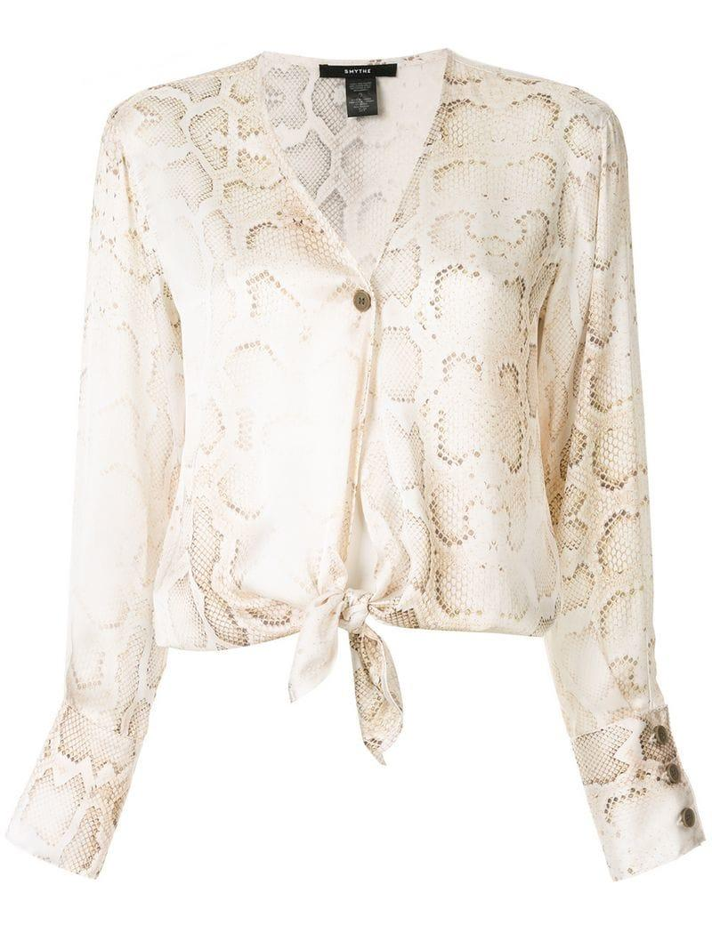 a38f438cd78dc Lyst - Smythe Collarless Blouse in White