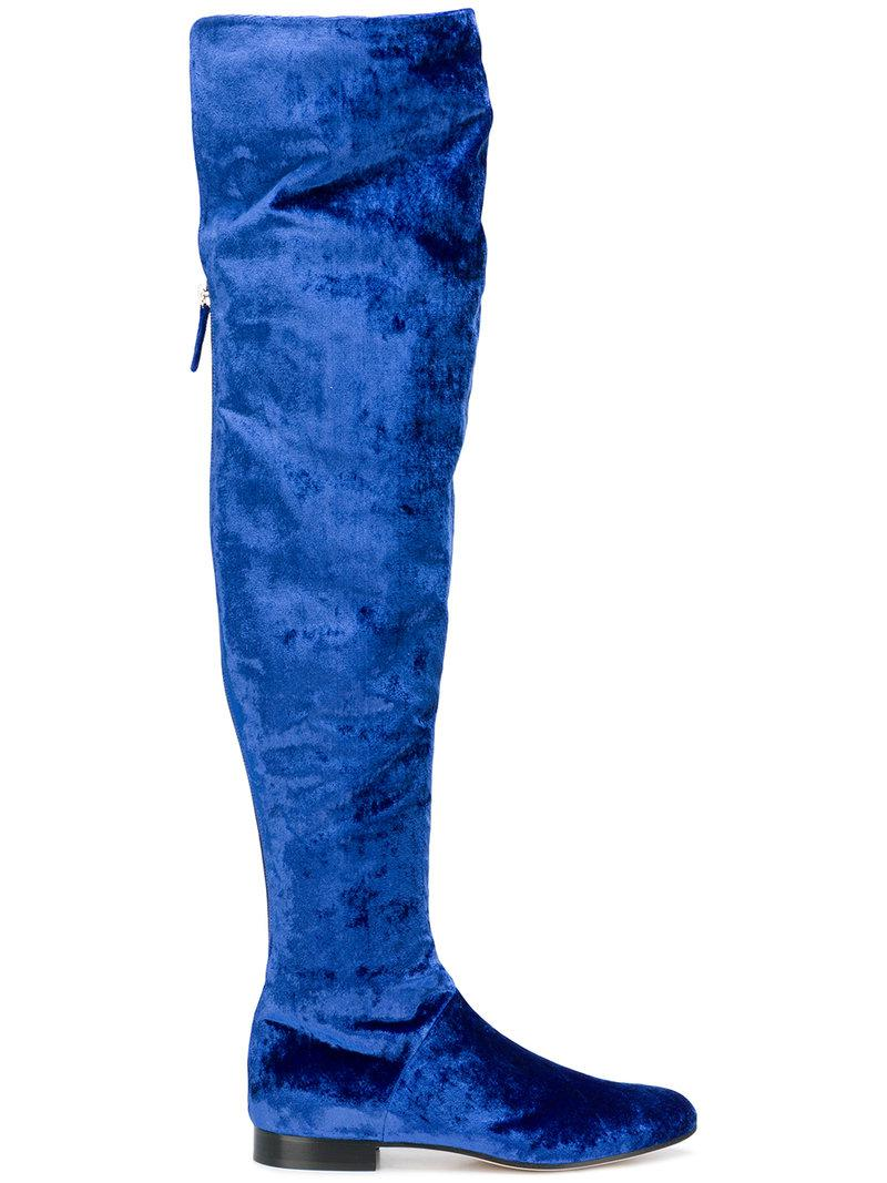 1a2a92aa039 Alberta Ferretti Velvet Over-the-knee Boots in Blue - Save 52% - Lyst