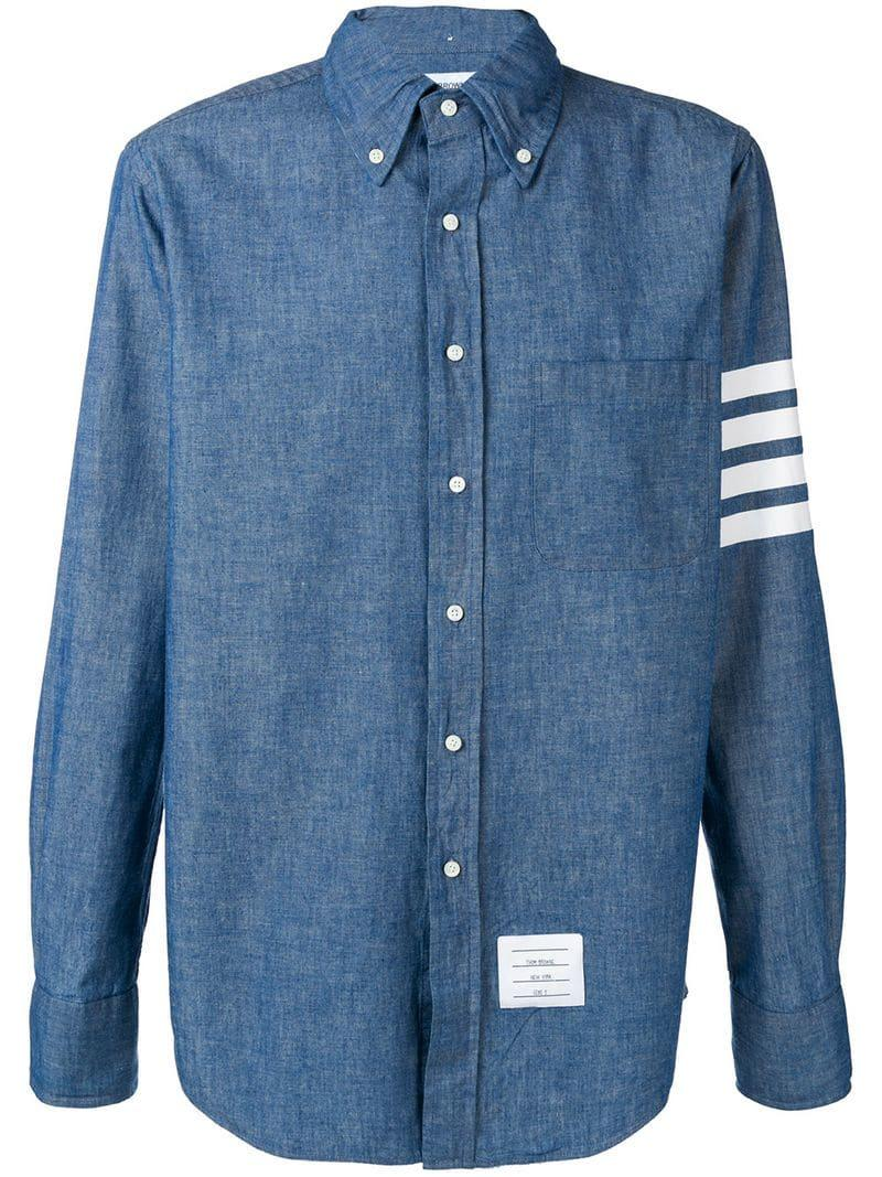 e587a4603e9 Lyst - Thom Browne 4-bar Straight-fit Chambray Shirt in Blue for Men