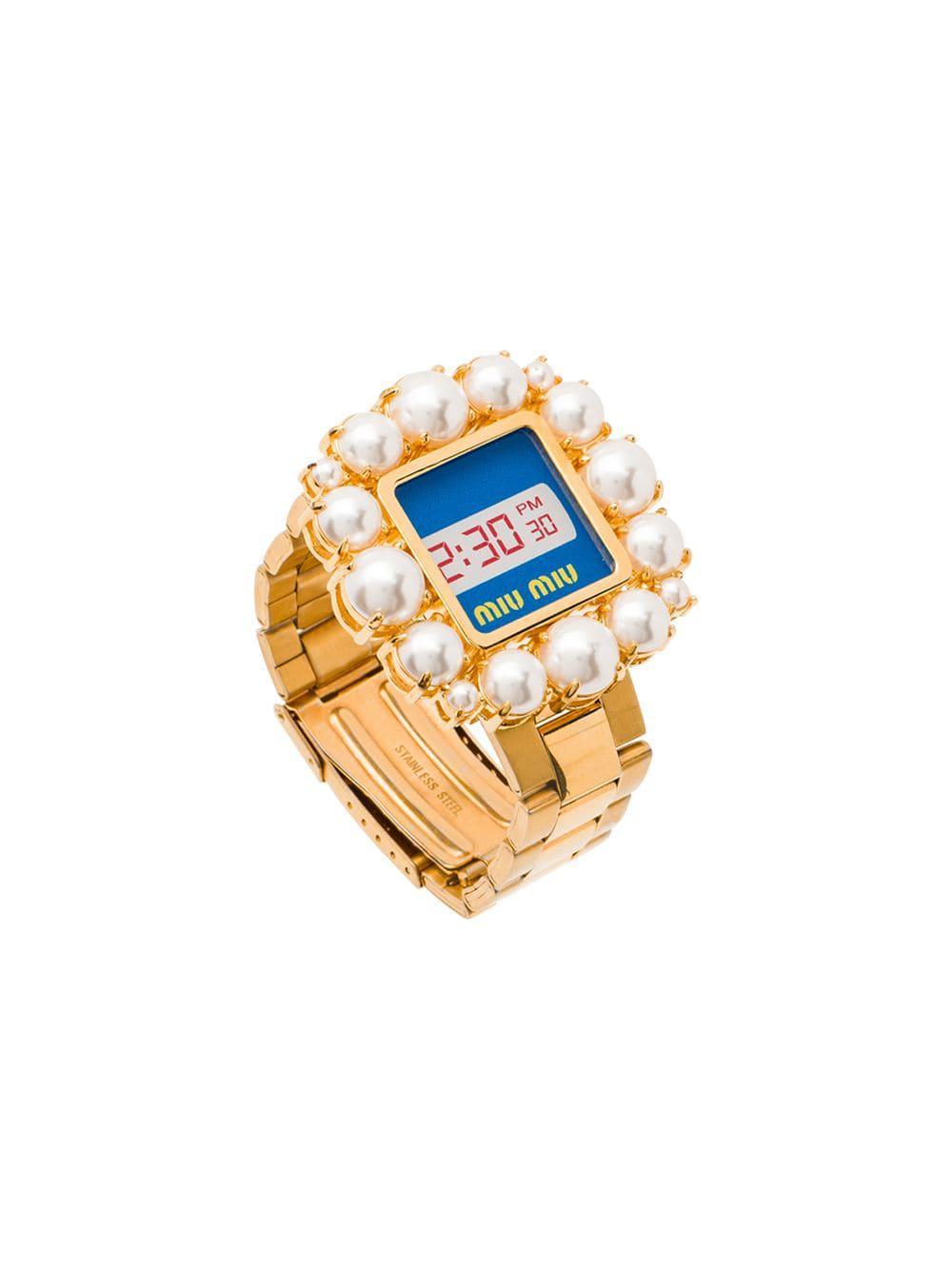9a24c8eb92e Miu Miu Watch With Pearls in Blue - Lyst