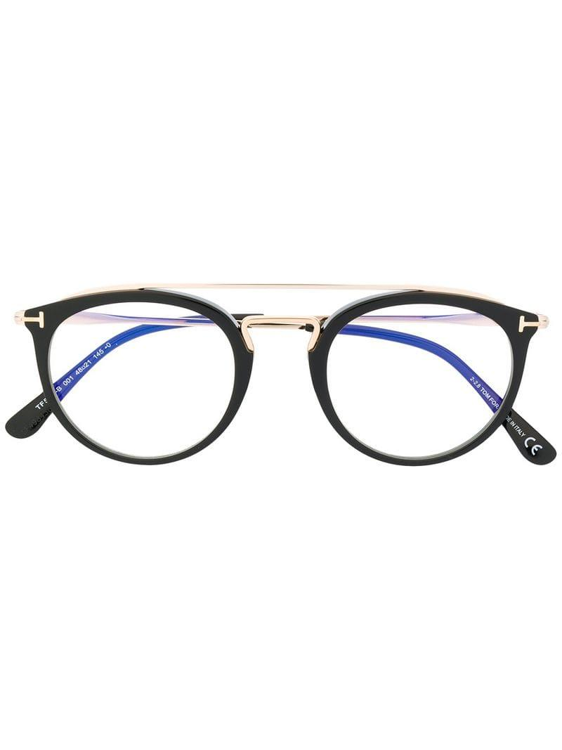 0aa4eadef89b Tom Ford Round Frame Glasses in Black - Lyst