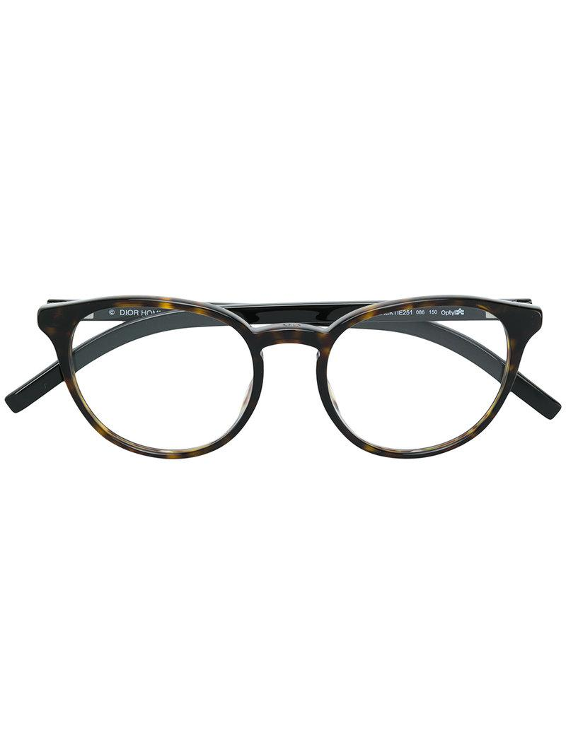 9f2d76a51dc Lyst - Dior Round Frame Tortoiseshell Effect Glasses in Brown for Men