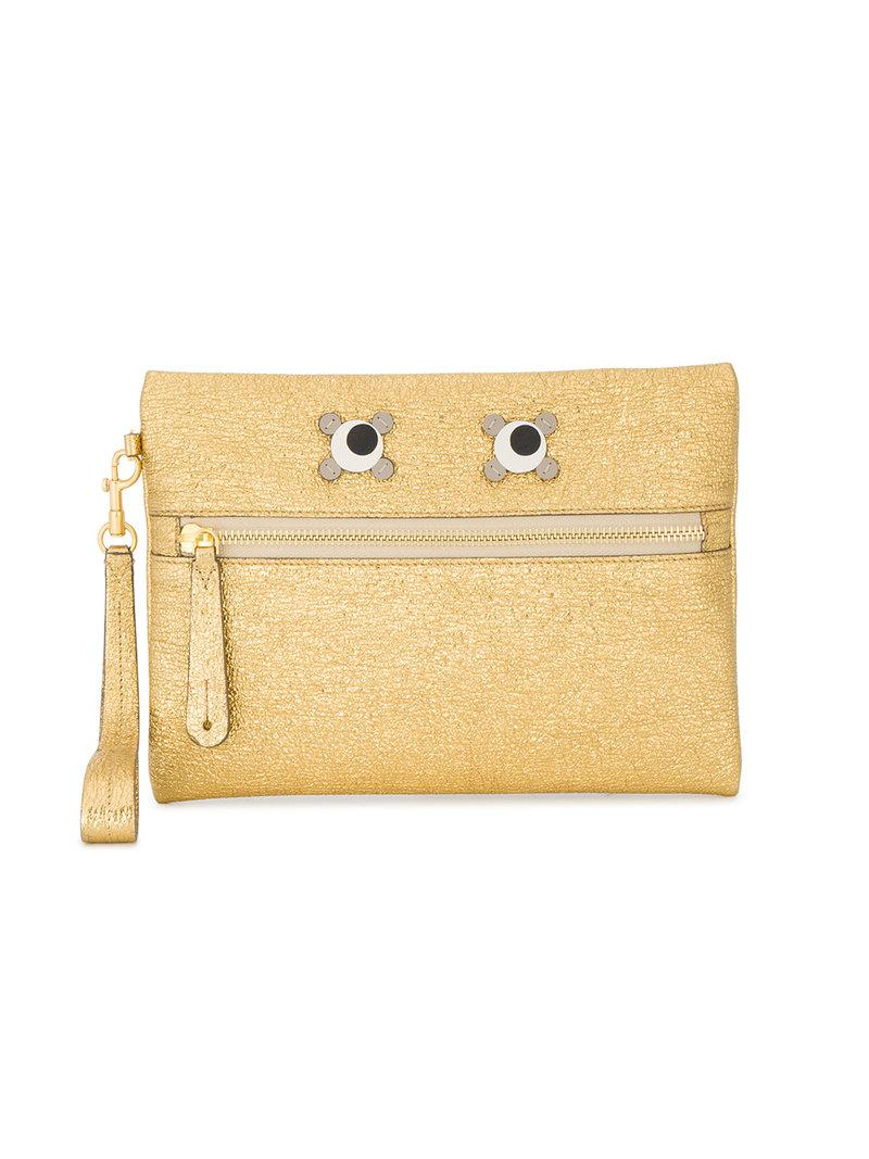 Factory Outlet Sale Online Sale High Quality Eyes zip clutch - Metallic Anya Hindmarch hSW9BdWRfa