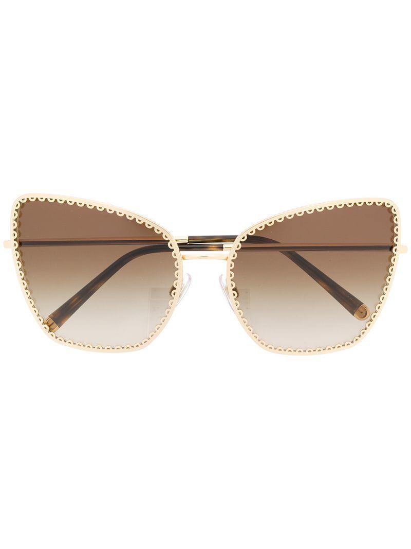 59e419a8ae1 Lyst - Dolce   Gabbana Oversized Cat-eye Sunglasses in Metallic ...
