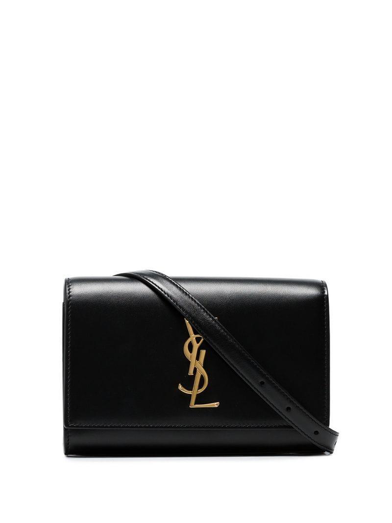 3fae6681cf Lyst - Saint Laurent Black Mini Ysl Leather Belt Bag in Black