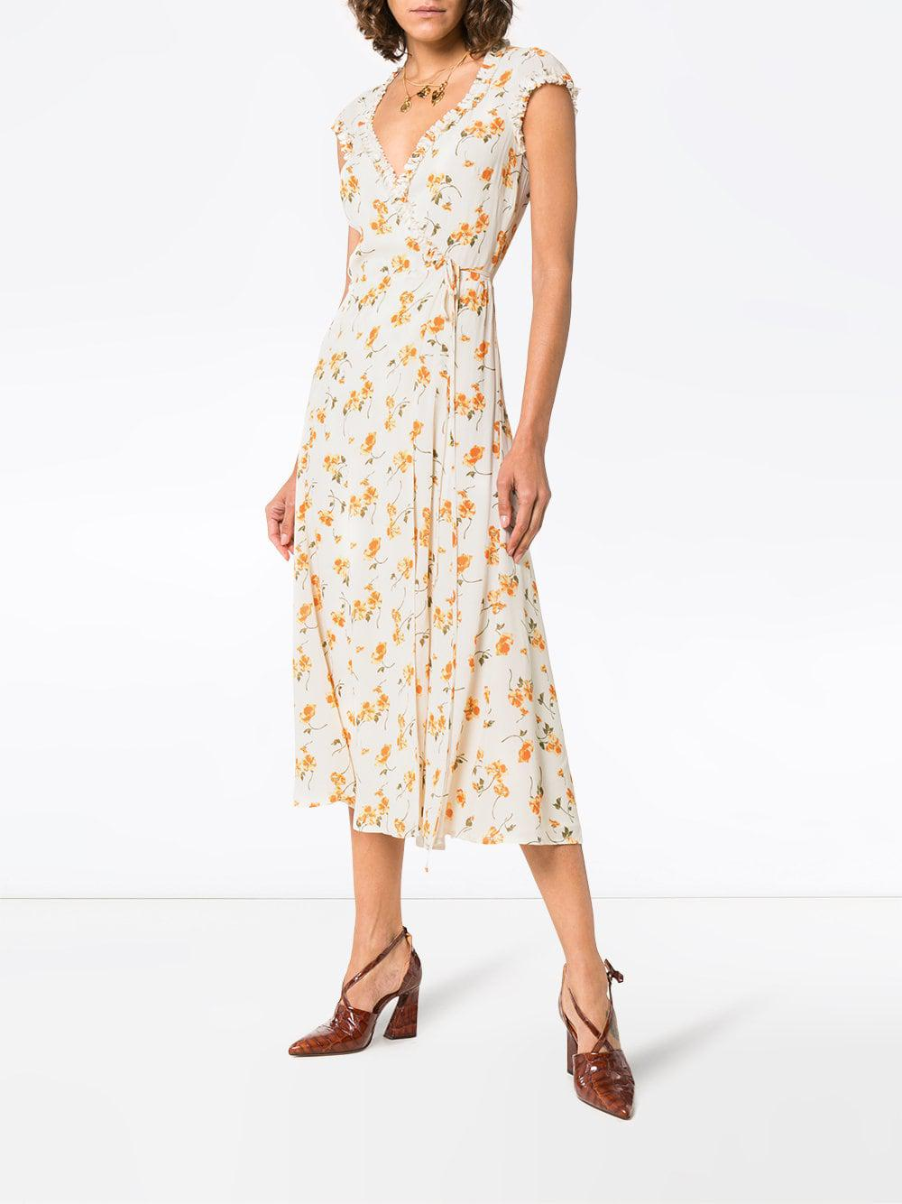 ca5fef104b9 Reformation Gwenyth Floral Wrap Over Dress - Lyst