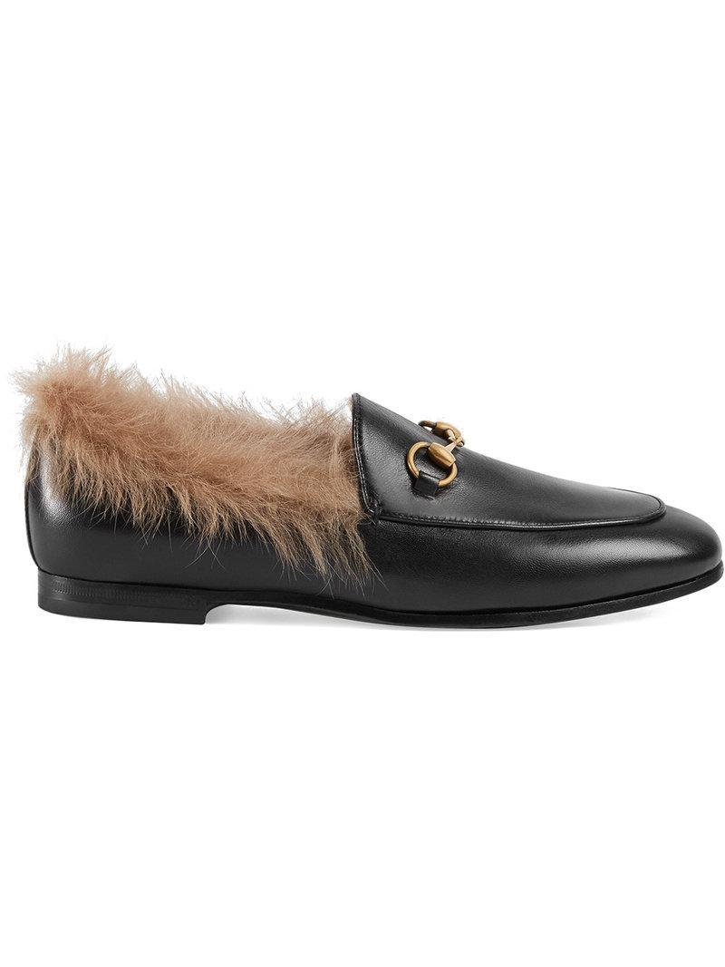 f47dd4cb4dd Gucci Jordaan Fur Loafer in Black - Lyst