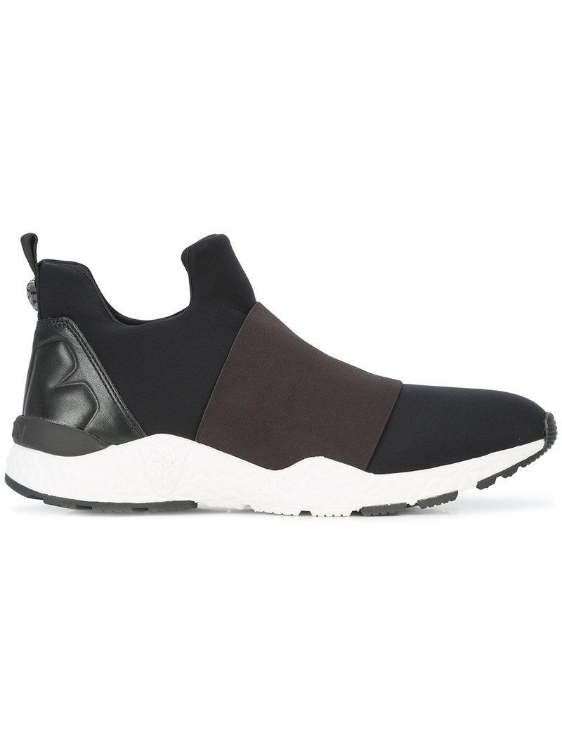 Marc Cain. Women's Black Neoprene Slip-on Sneakers