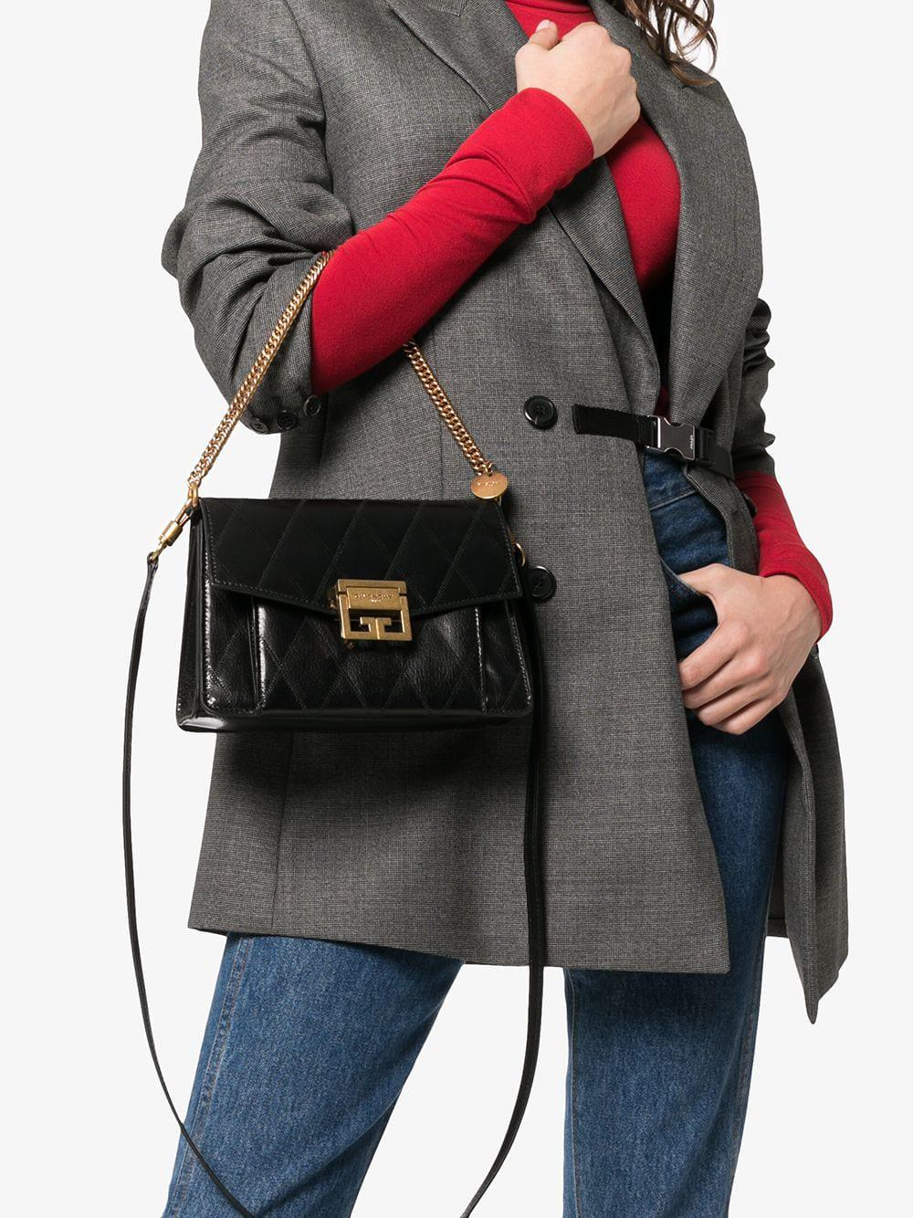 4fe537fbce00 Givenchy Black Gv3 Small Quilted Leather Shoulder Bag in Black - Save 11% -  Lyst