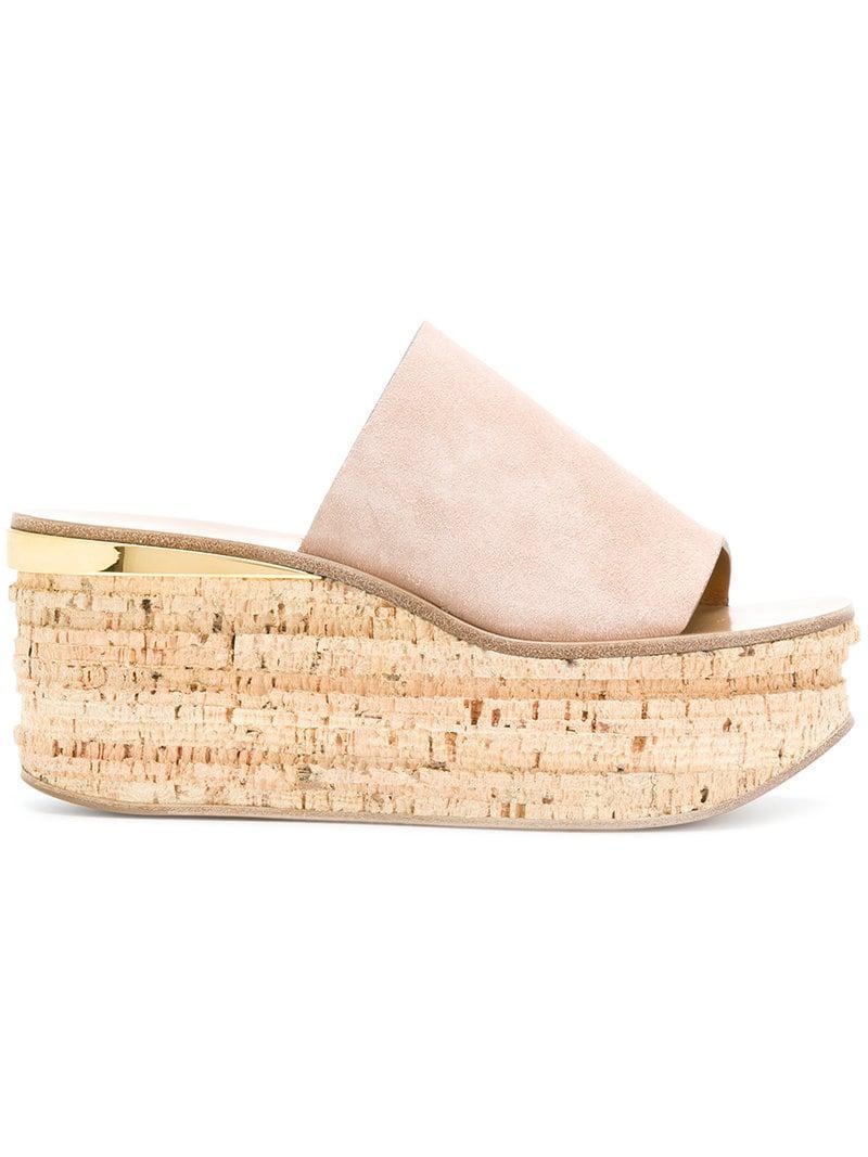 34927ff911cd Chloé Camille Suede Platform Sandals in Pink - Save 3% - Lyst