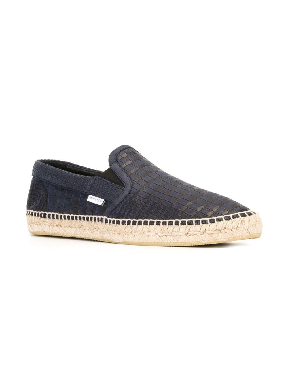 1781ea764e15 Jimmy Choo - Blue Vlad Men s Crocodile-print Espadrille Slip-on Sneaker for  Men. View fullscreen