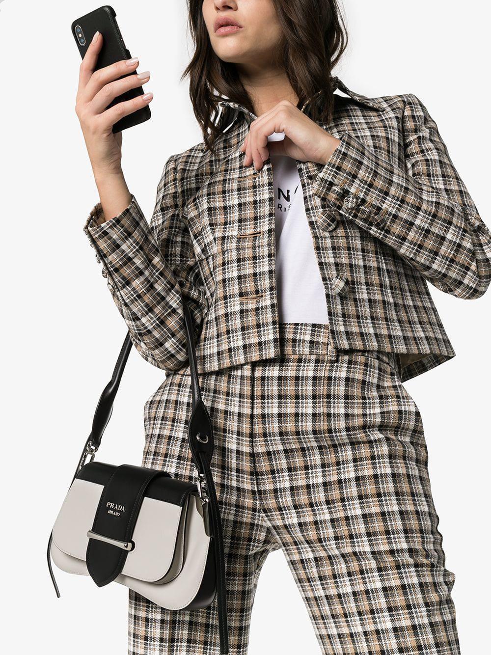 86e4fd6a2e Prada - Black And White Manuelle Two Tone Leather Shoulder Bag - Lyst. View  fullscreen