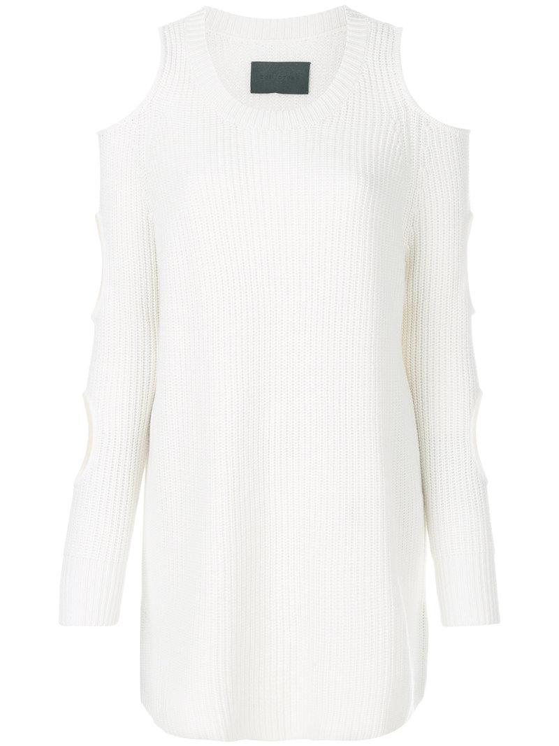 bfa3618b9010 Zoe Jordan Sleeve Slit Jumper in White - Lyst