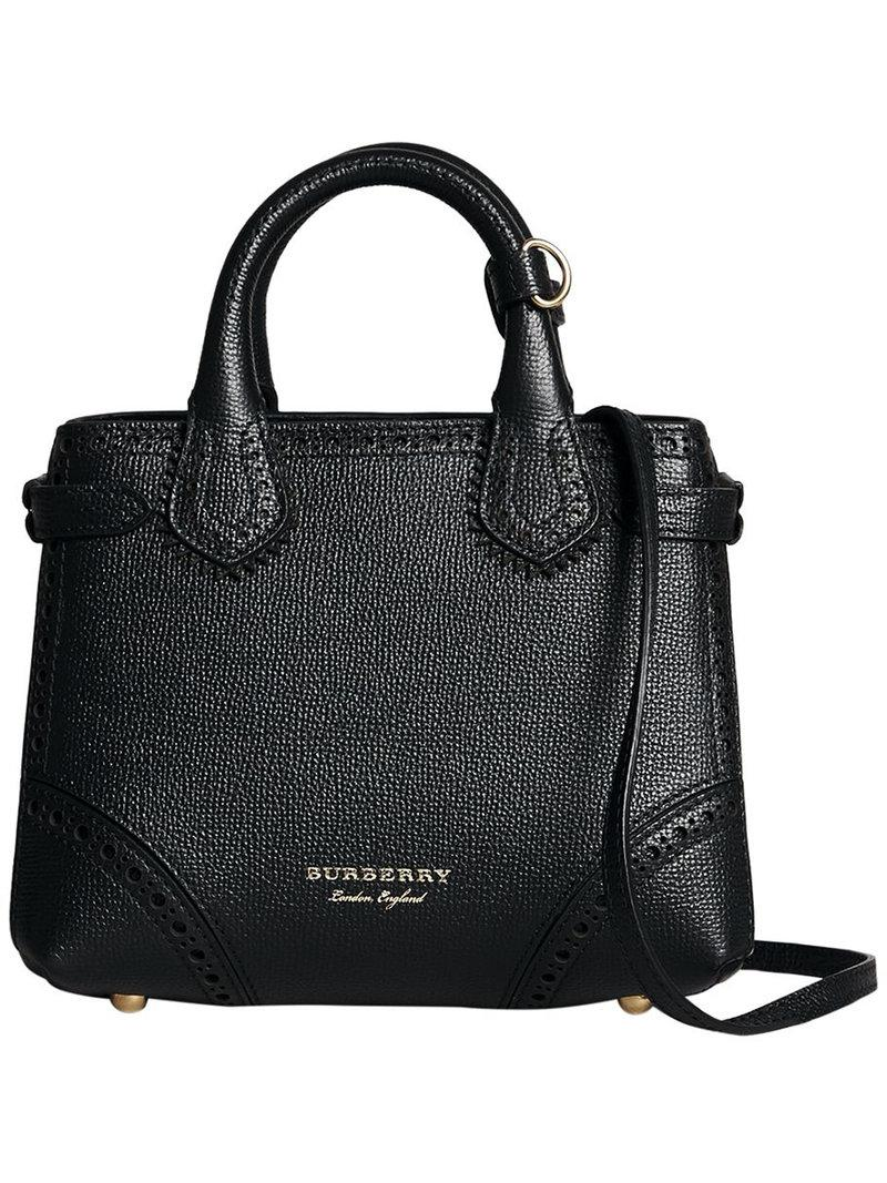 33e082e358d7 Lyst - Burberry Baby Banner In Brogue Detail Leather in Black