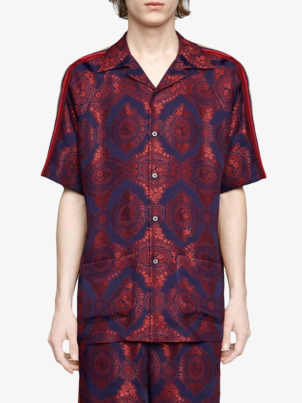 e5120da5064 Gucci - Red Baroque Jacquard Bowling Shirt for Men - Lyst. View fullscreen