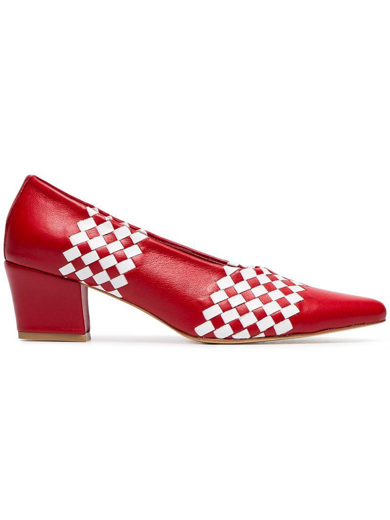 In Ruby Maryam Woven 48 Save Zadeh Pumps Leather Red Nassir Lyst 50 n8fw1tx41q