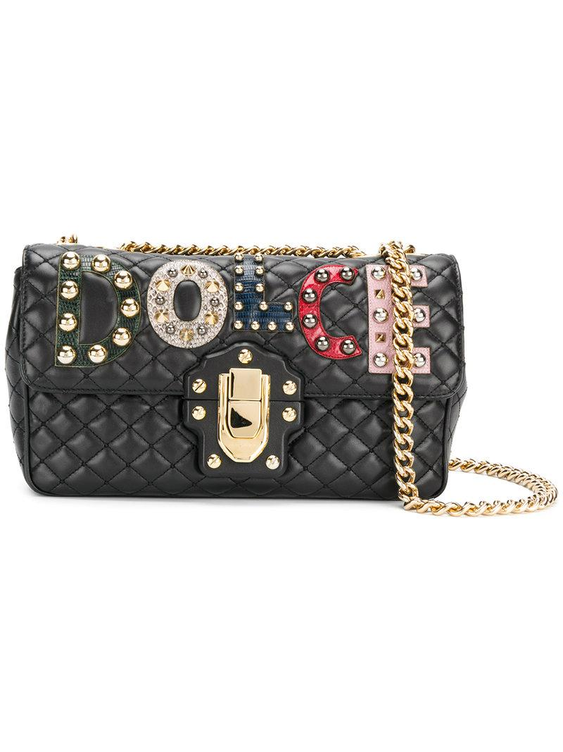 c6c7d43f23c6 Lyst - Dolce   Gabbana Lucia Quilted Shoulder Bag in Black