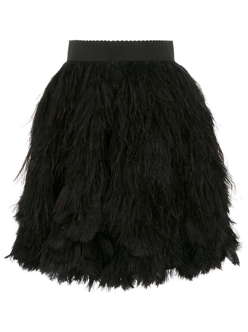228e10200507 Lyst - Dolce   Gabbana Feather Appliqué Mini Skirt in Black - Save 7%
