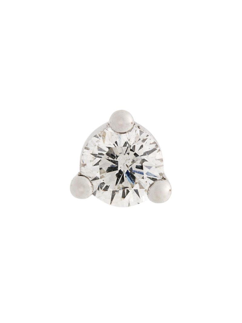 Delfina Delettrez 18kt gold Dots Solitaire tourmaline and pearl earring - White ABIarb