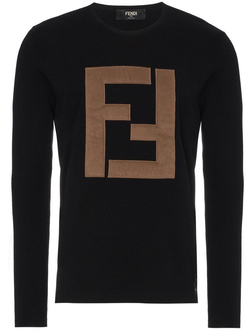 Lyst - Pull à logo appliqué devant Fendi pour homme en coloris Noir e413835e26c