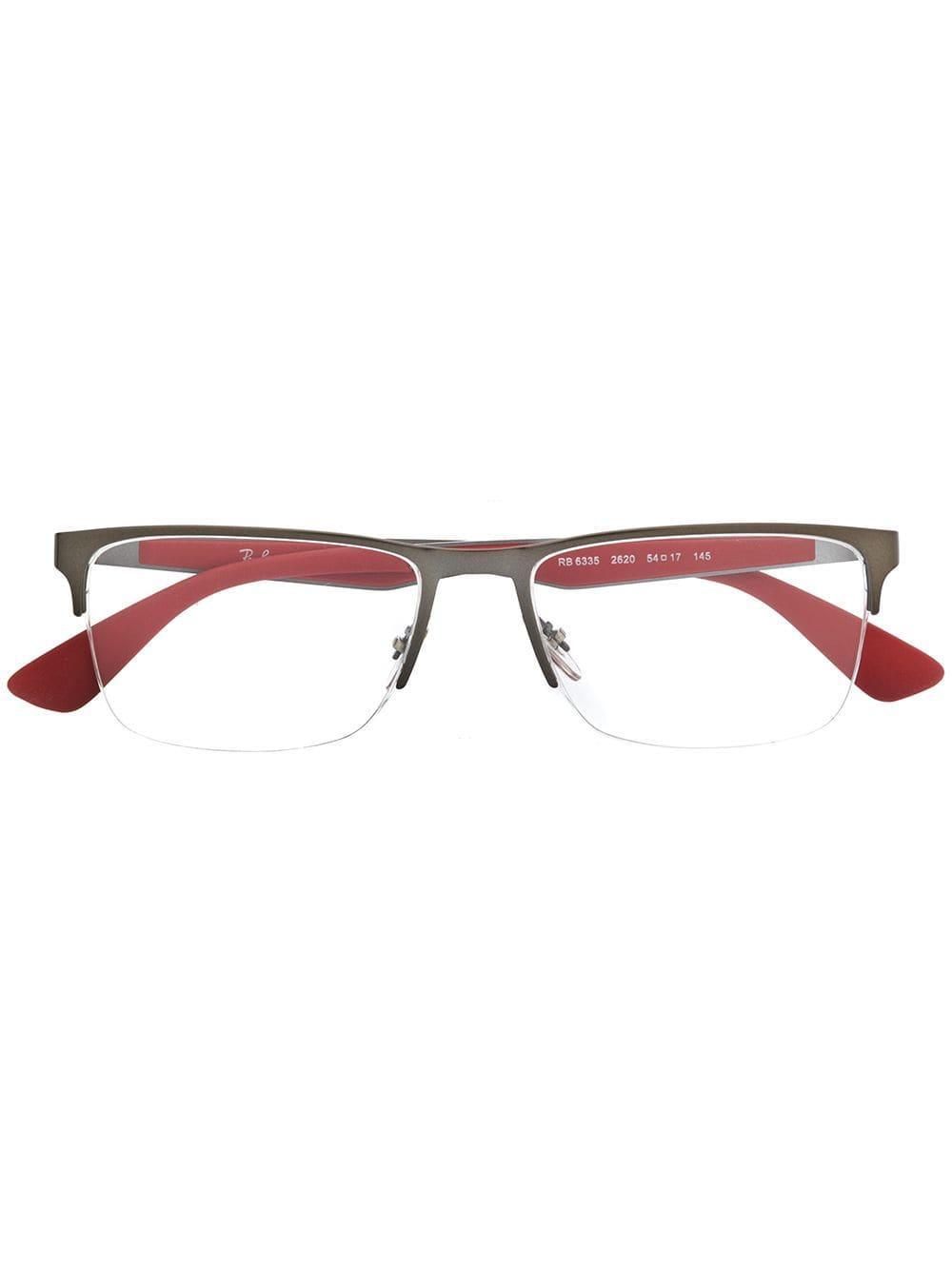 2a7cf3c785 Gafas rectangulares Ray-Ban de hombre de color Rojo - Lyst