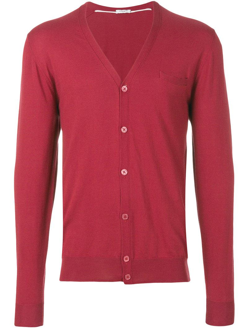 ac9112d04835a Paolo Pecora V-neck Cardigan in Red for Men - Lyst